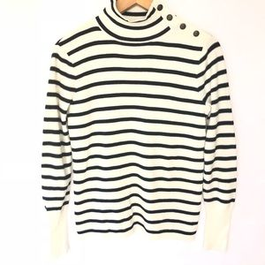NWOT J. CrewFactory Striped Mock Neck Sweater S